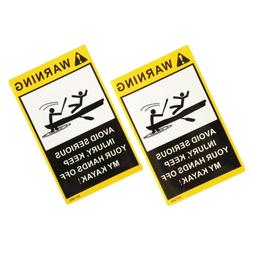 2x Warning Stickers Decals for Sea Marine Kayak Fishing Boat