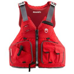 NRS Chinook Fishing Kayak Lifejacket -Red-L/XL