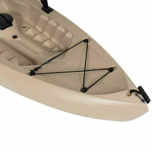 Fishing Kayak w Adult On Top Padded Storage Rod Flat Bungee