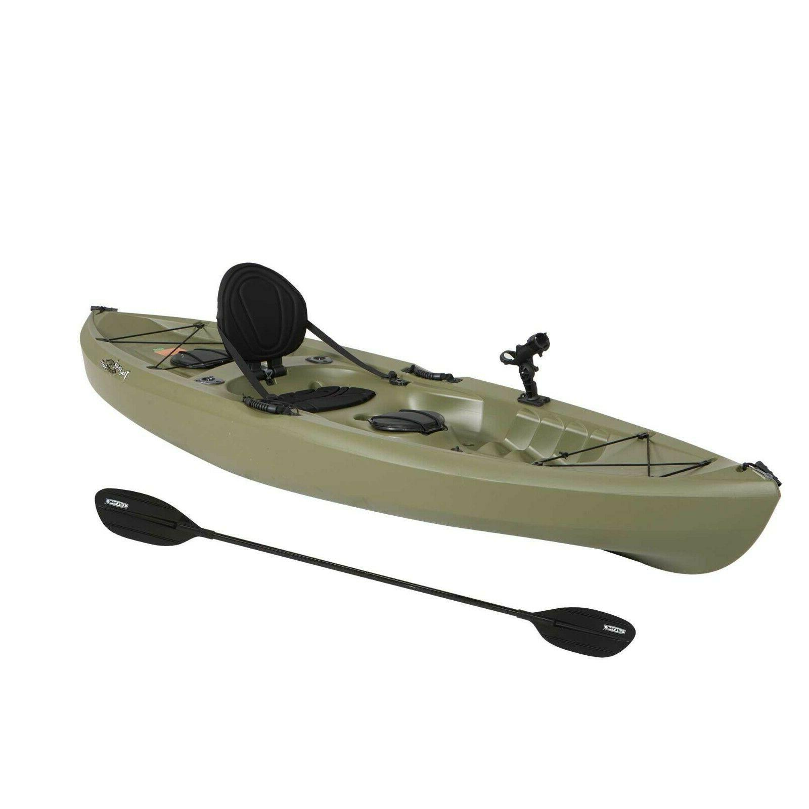 Olive Green Fishing Kayak Paddle Included Deep Hull Stable B