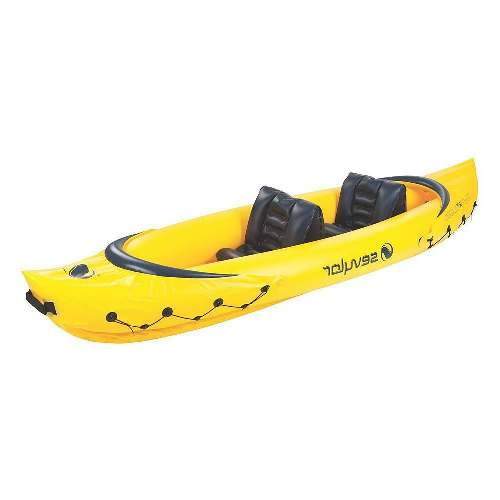 inflatable canoe 2 person lightweight seats fishing
