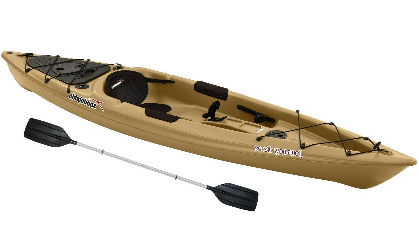 Sun Dolphin Journey 12 ft. SS Fishing Kayak with Paddle, Gra