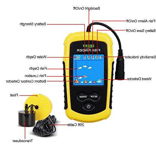 LUCKY Handheld Finders for Kayak Depth Finder Sonar Transducer LCD Display