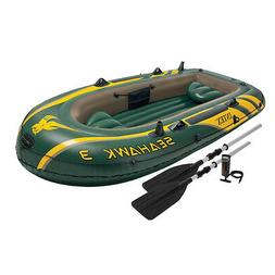 Intex Seahawk 3 Person Inflatable Rafting and Boat Set with